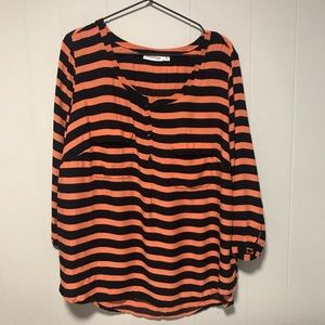 St Johns Bay orange and navy striped blouse
